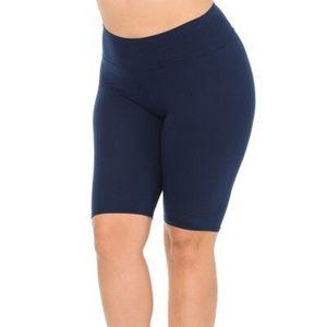 Navy Basic Solid Plus Size Shorts - 3 Inch